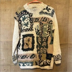 Vintage SZ S Tacky Gaudy Sweater Knit Plants Tan